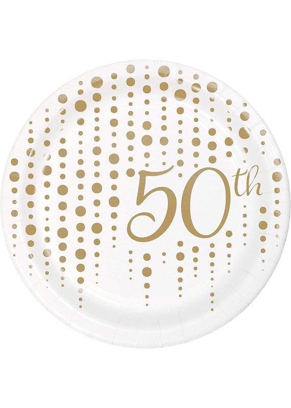 "*****50th Anniversary 7"" Dessert Plates 8ct"
