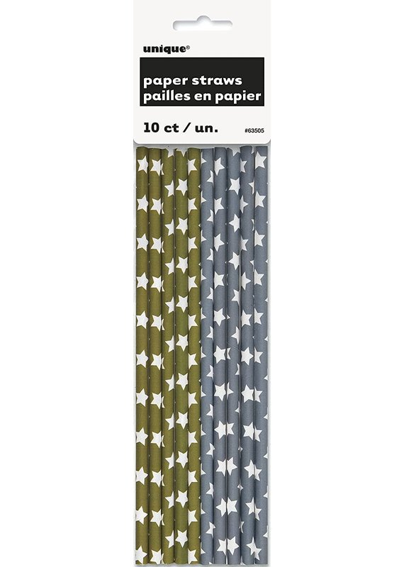*****Gold and Silver Star Paper Straws 10ct
