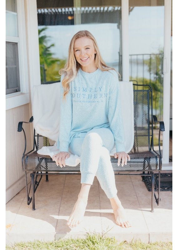 ****Simply Southern Terry Crew Top Blue