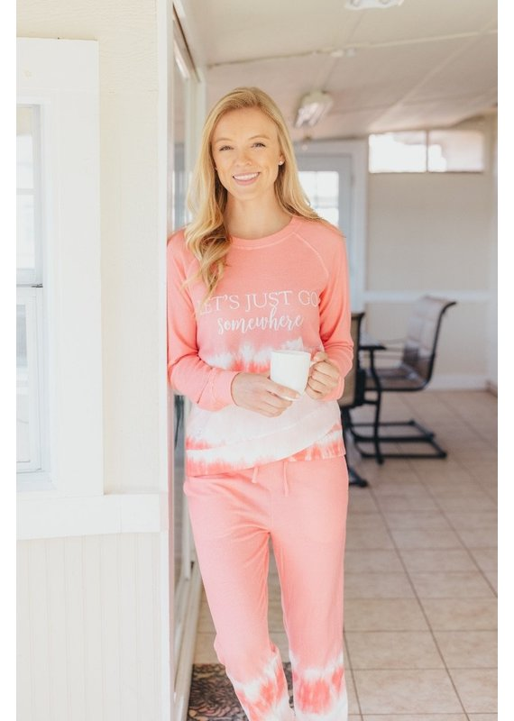 *****Simply Southern Let's Just  Go Crew Neck Pink