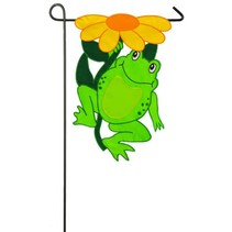 ***Happy Frog Garden Applique Flag