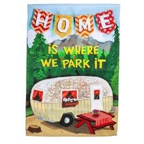 ***Home is Where We Park It Garden Suede Flag
