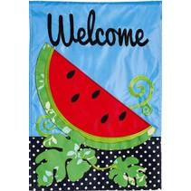 Welcome Watermelon Garden Flag