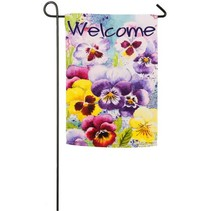 ***Watercolor Pansies Garden Suede Flag