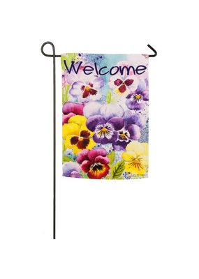 ***Watercolor Pansies Garden Suede Flag