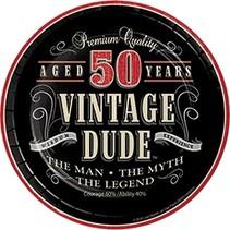 "***Vintage Dude 50 Dessert 7"" plates 8ct"