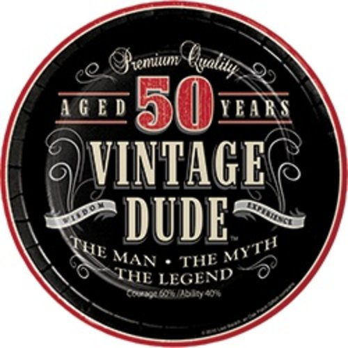 "*Vintage Dude 50 Dessert 7"" plates 8ct"