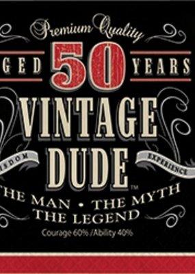 ***Vintage Dude 50 Lunch Napkins