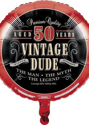 ***Vintage Dude 50 Birthday Mylar Balloon