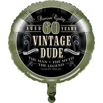 ***Vintage Dude 60 Birthday Mylar Balloon