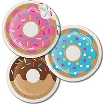 "***Donut Time Dessert 7"" Plates in 3 color assortment"