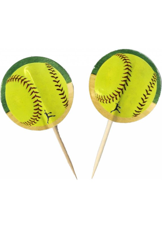 ****Softball Cupcake Picks 24ct