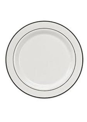 "***White w/Silver Rim 10.25"" Banquet Plates 40ct"