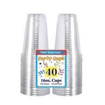 **Clear 16oz Soft Plastic Cups 40ct