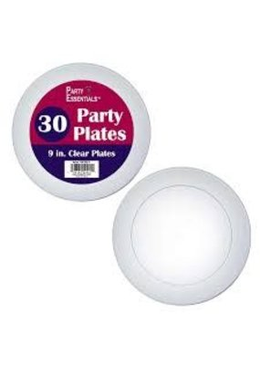 "***Clear 9"" Party Plates 30ct"
