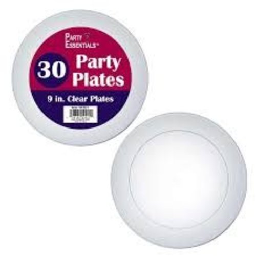 """**Clear 9"""" Party Plates 30ct"""