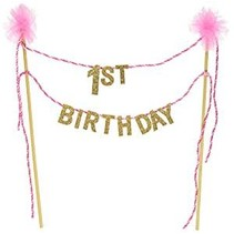 ***1st Birthday Cake Topper Pink and Gold