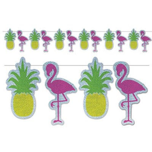 Flamingo & Pineapple Luau Streamer Banner