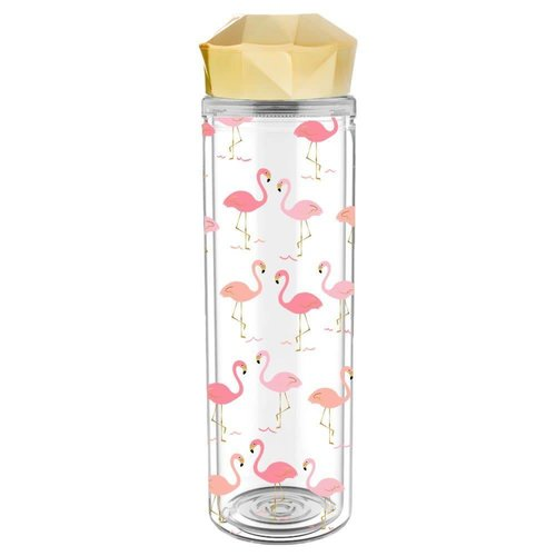 Flamingo Water Bottle with Gold Lid