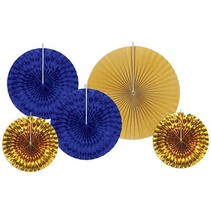 Royal Blue and Gold Decorative Fans