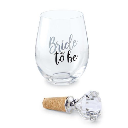 Bride to Be Wine Glass with Diamond Topper