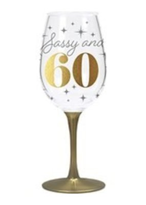 CR Gibson ***Sassy & 60 Acrylic Wine Glass