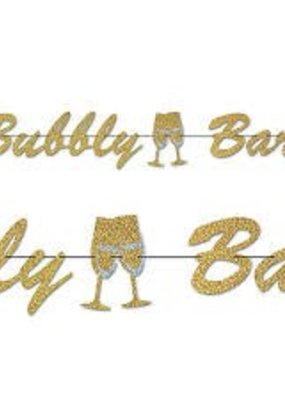 ***Gold Glitter Bubbly Bar Streamer Banner 5ft