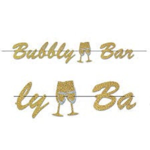 *Gold Glitter Bubbly Bar Streamer Banner 5ft