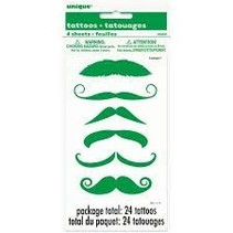 ***St. Patrick's Day Green Moustache Tattoos 4 sheets