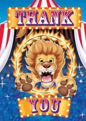 ***Big Top Birthday Thank You Notes 8ct