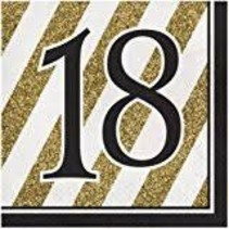 ***Black & Gold 18th Lunch Napkins