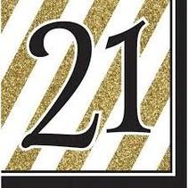 *Black & Gold 21 Lunch napkins