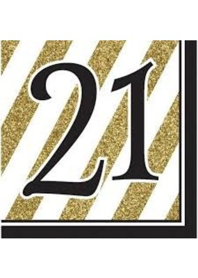 ***Black & Gold 21st Lunch Napkins
