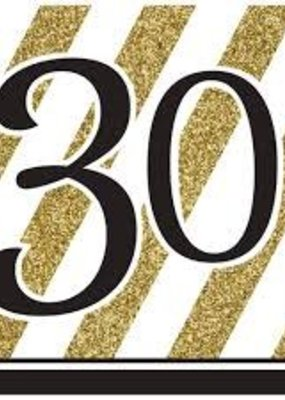 ***Black & Gold 30th Lunch Napkins