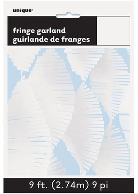 ***9' Tissue Fringe Garland White