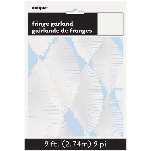 9' Tissue Fringe Garland White