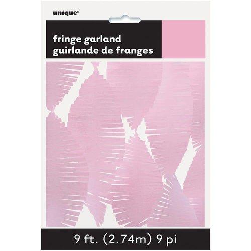 *9' Tissue Fringe Garland Light Pink