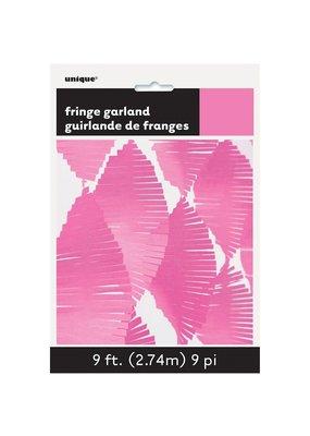 ***Hot Pink Tissue Fringe Garland 9ft