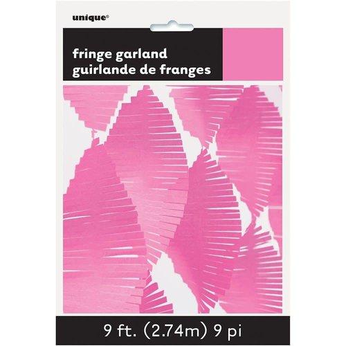 9' Tissue Fringe Garland Hot Pink