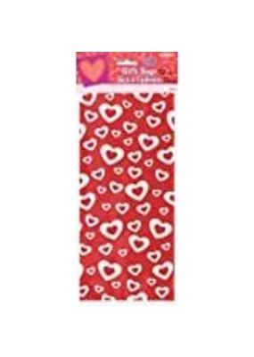 ***Valentine Red White Hearts Cello Bags 20ct