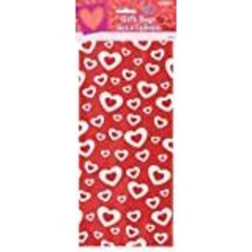 **Valentine Red White Hearts Cello Bags 20ct