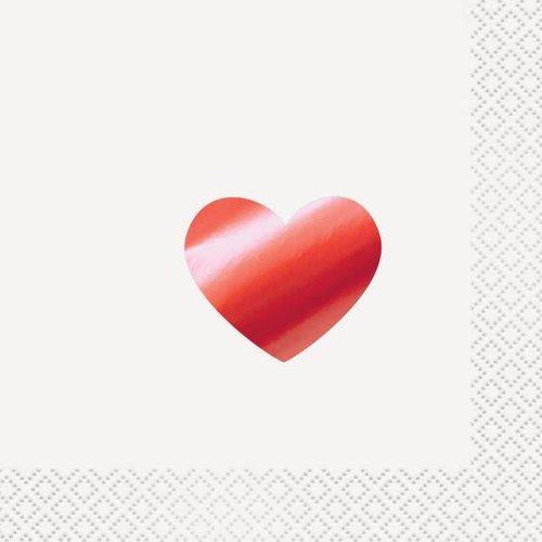 **Foil Red Heart Beverage Napkin