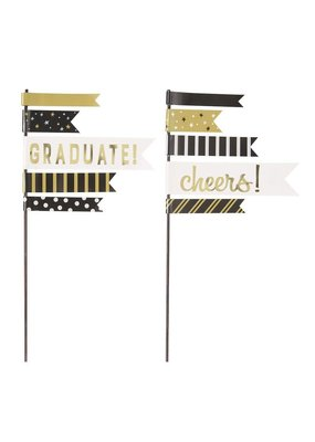 ***Graduation Pennant Cake Toppers 2ct