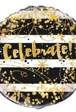 *Black & Gold Celebrate Mylar Balloon