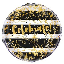 *Black & Gold Celebrate Mylar Balloon