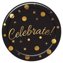 *Celebrate Black & Gold 9in Plate