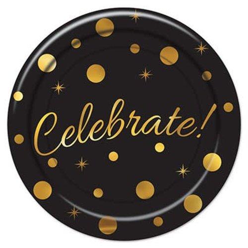 Celebrate Black & Gold 9in Plate