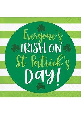 ***Everyone's Irish on St. Patrick's Day Beverage Napkin
