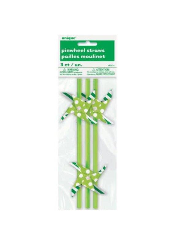 ****Pinwheel Straws Lime Green 3ct