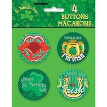 ***St. Patrick's Day Buttons 4ct